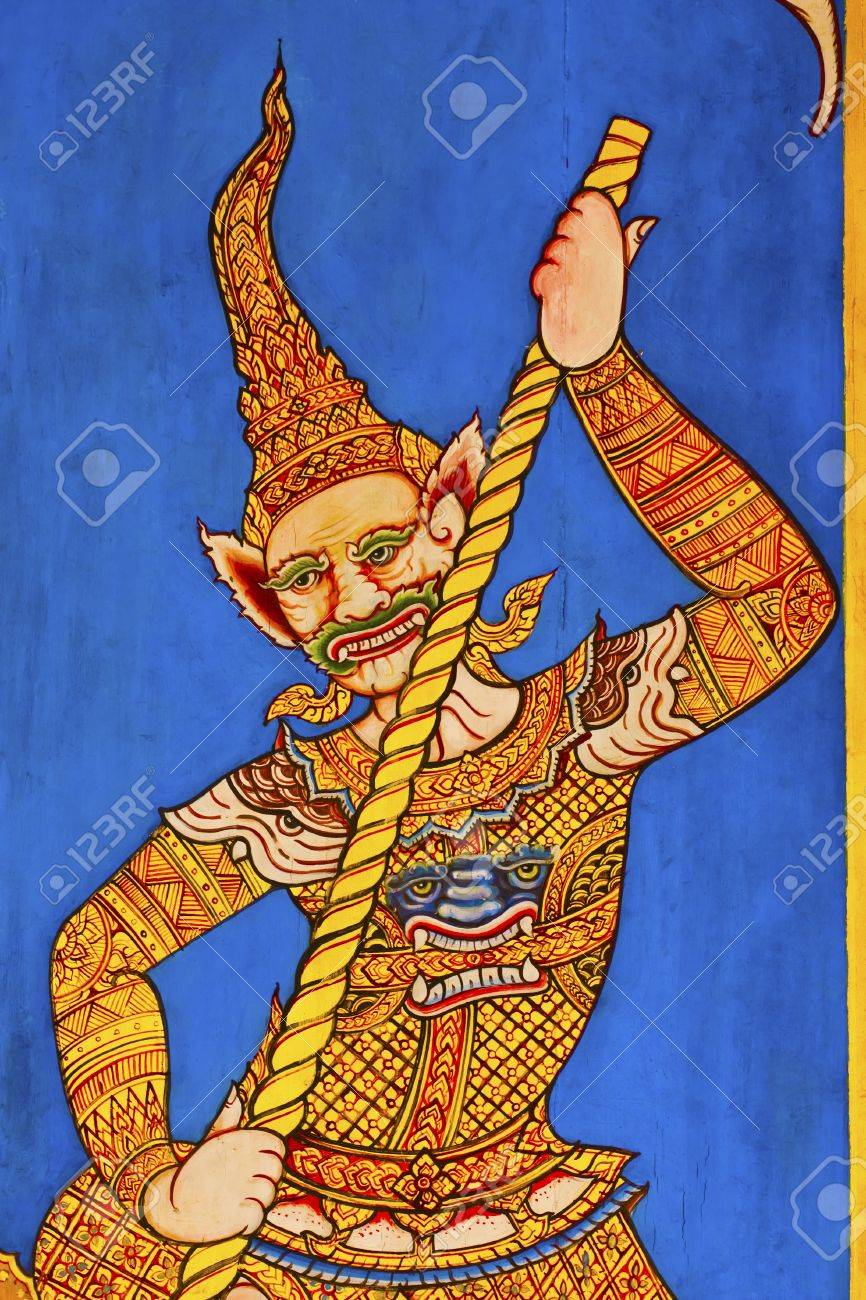 Ramayana painting on old door in temple thailand. Stock Photo - 12806131