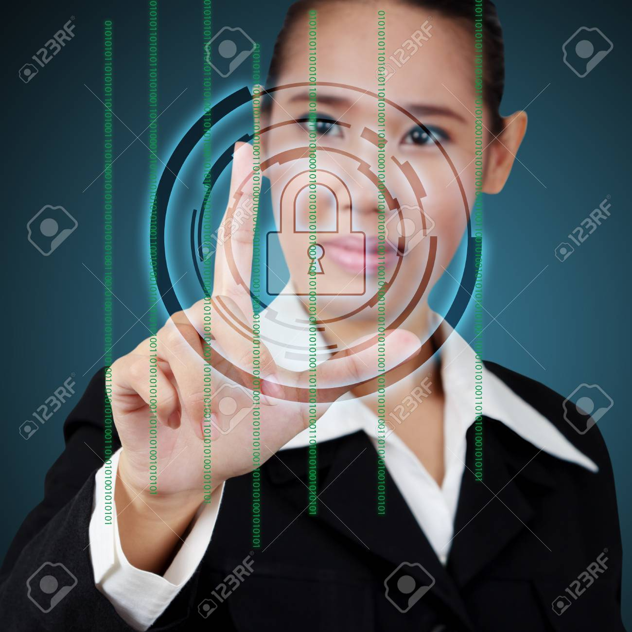 Touching a security key on virtual screen Stock Photo - 26321933