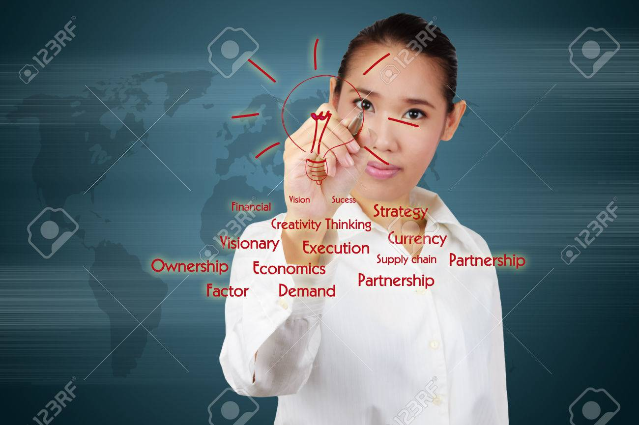 business woman writing a business solution concept on virtual screen Stock Photo - 26322000