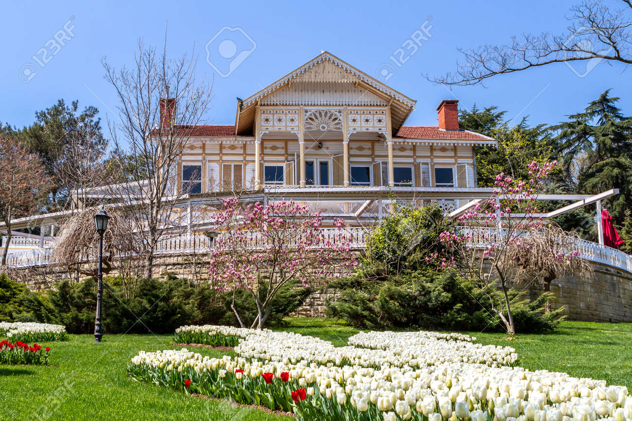 Istanbul, Turkey - 04.11.2015: Yellow Mansion in Emirgan Park. The mansion is used as a cafeteria and as a restaurant of Turkish-Ottoman cuisine. - 161123370