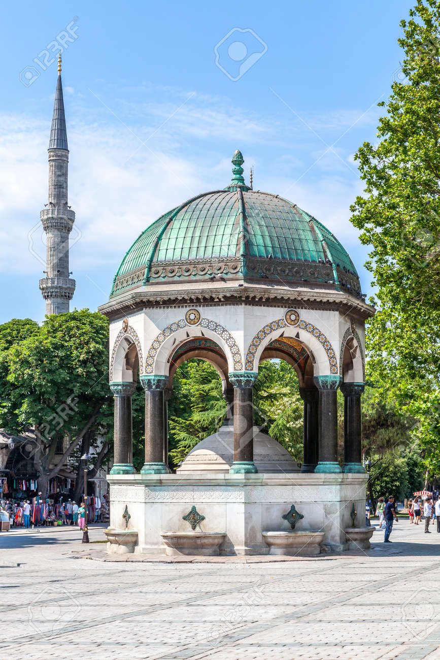 Istanbul, Turkey - 07.07.2011: German fountain, which is a gift from Wilhelm II in Sultanahmet Square, built in 1898. - 163031521