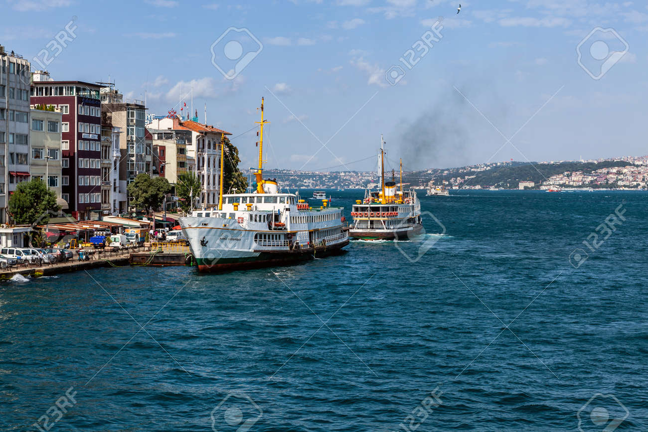 Istanbul, Turkey - 07.27.2012: Nice view of the historic district Karakoy Steamboat Pier - 163031562