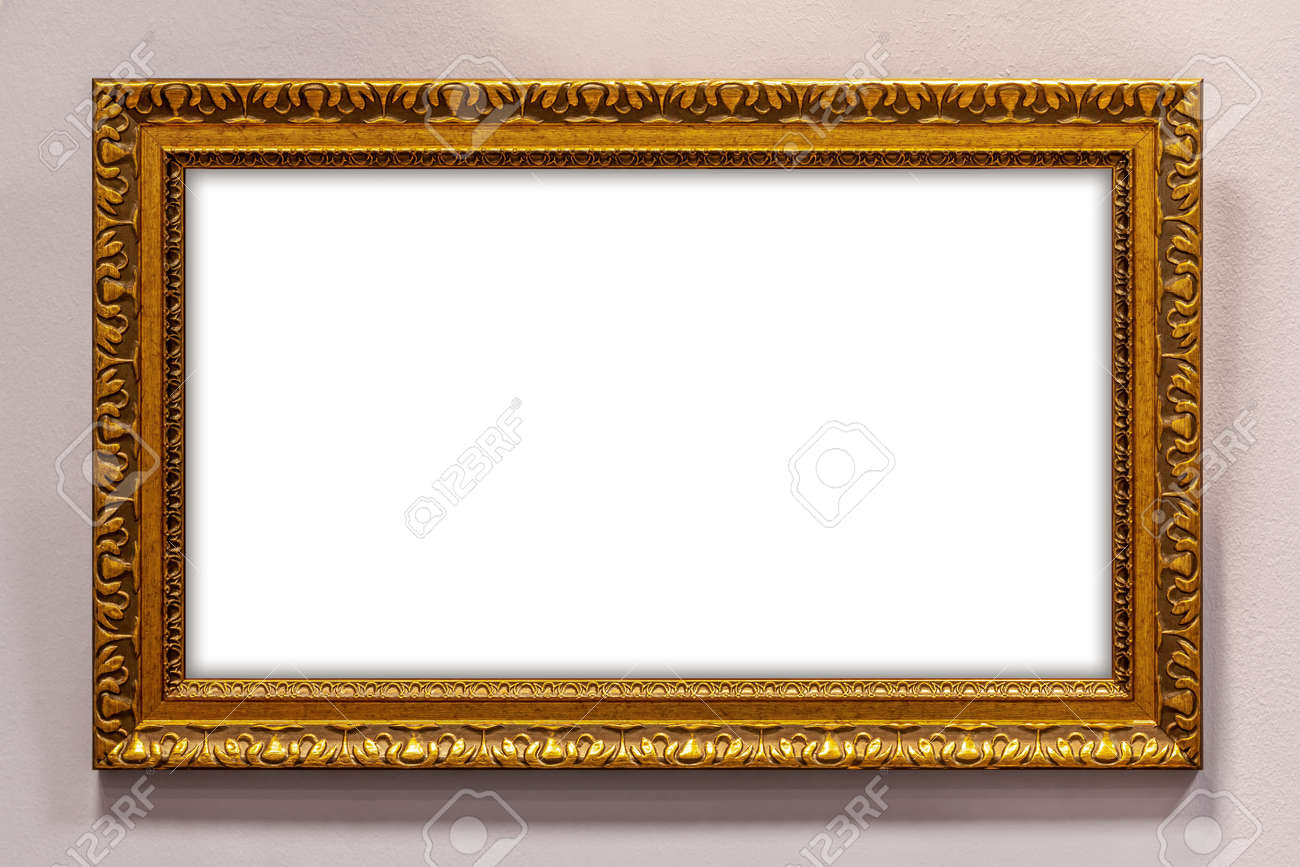 Golden picture frame on wall - 162319066