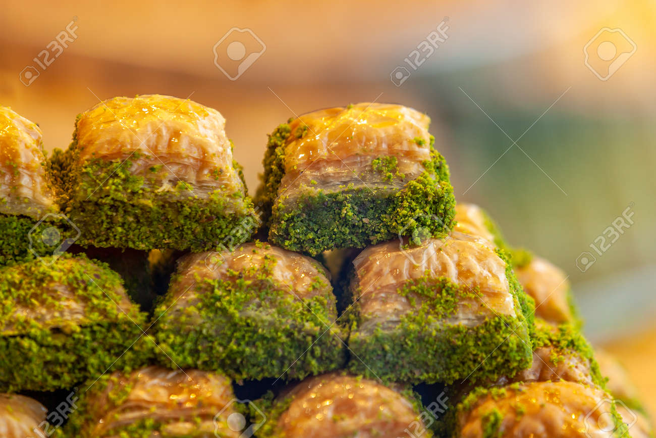 Assorted Flavors of Turkish baklava with pistachio and other Turkish sweets, Istanbul Province. Istanbul Turkey - 162319065