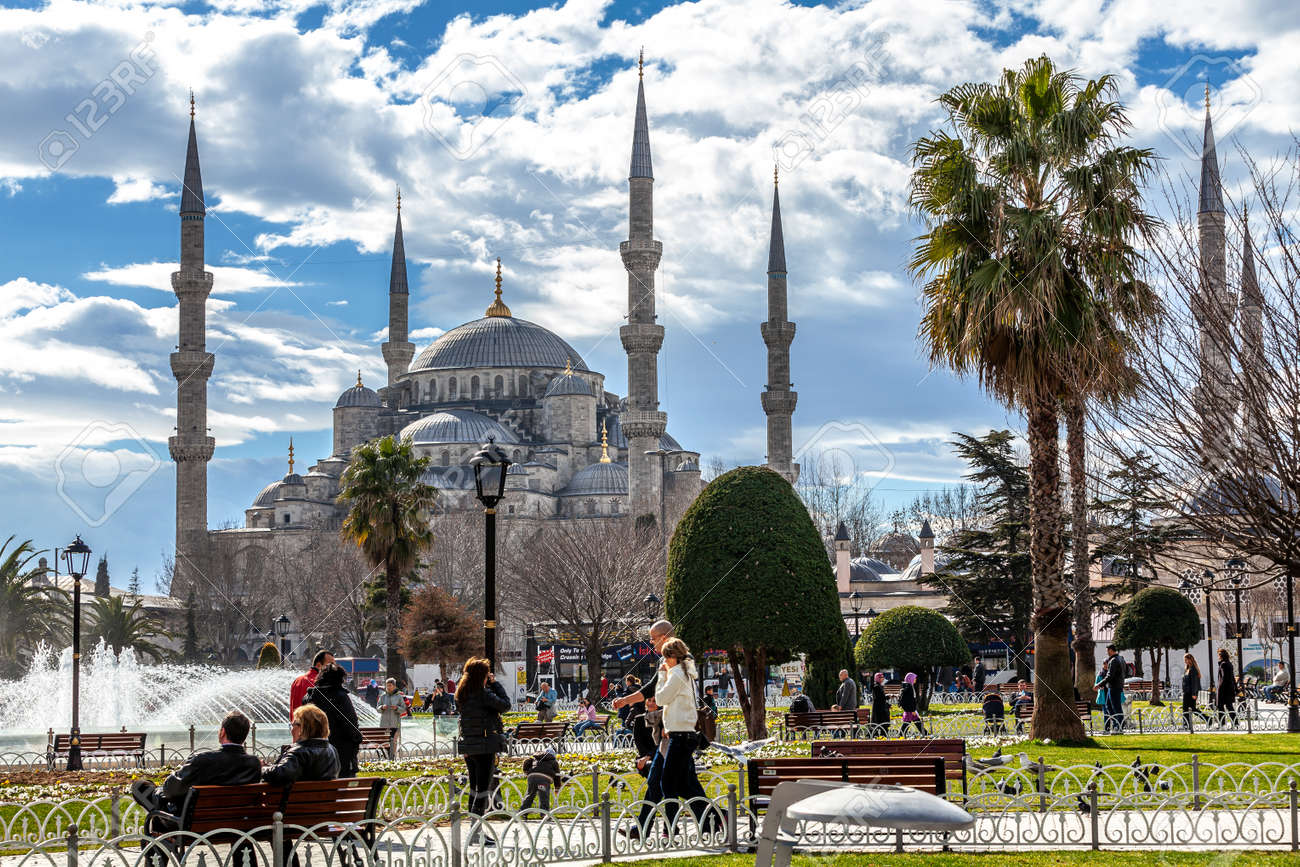 Istanbul, Turkey - 02.07.2013: Blue Mosque (Sultanahmet Mosque) and Park is historic district of Istanbul near the Blue Mosque and Hagia Sophia Mosque, it is a popular area among tourists. - 162968095