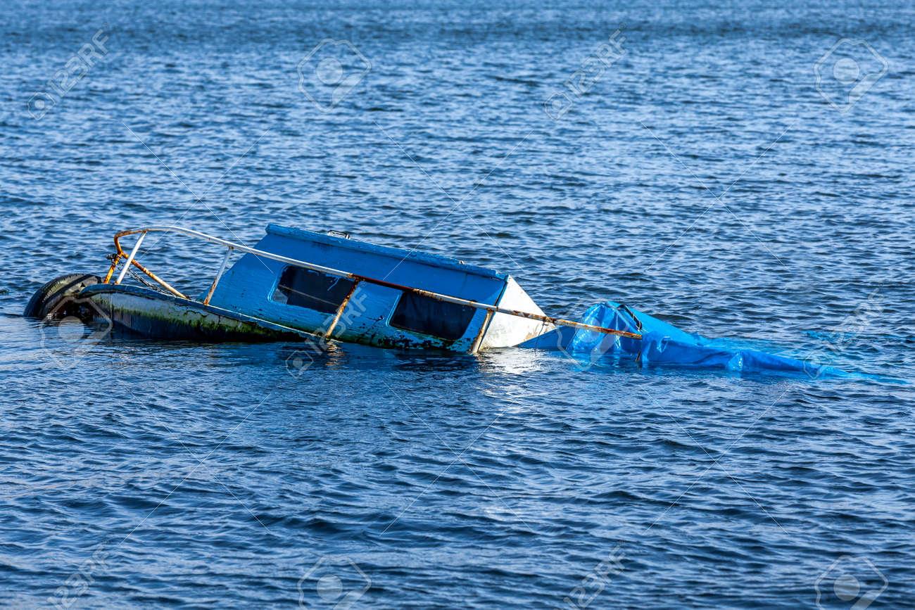 Rusted old boat sunken in the Marmara Sea - 163886704