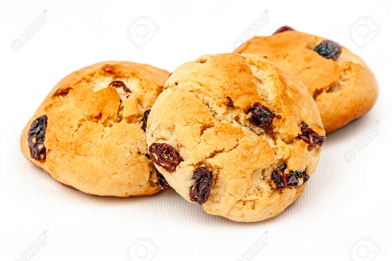 Plenty of raisin cookies on a white background, detailed view - 163886705