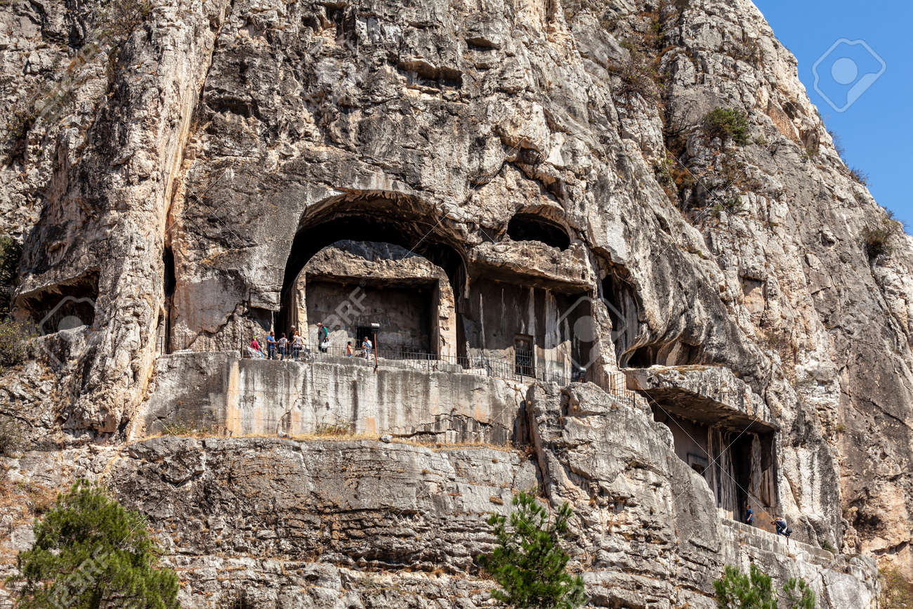 Amasya, Turkey - 09.03.2013: Amasya is a city in northern Turkey, detail view of king rock tombs. - 165943614