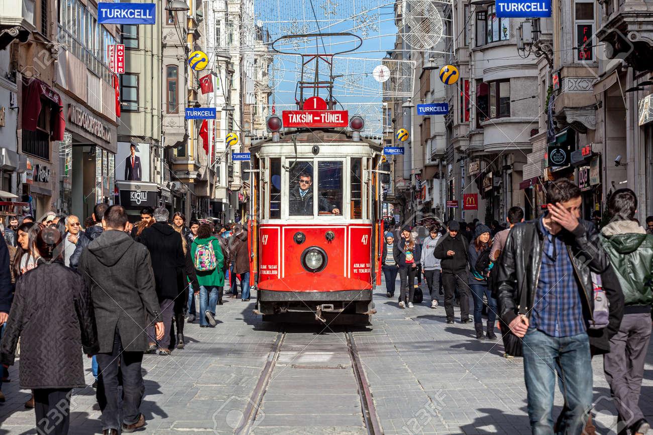 Istanbul, Turkey - 03.06.2013: Heritage trams of Istanbul; Taksim - Tunel Nostalgia Tramway line, operates on Istiklal Street between Taksim Square and Karakoy underground railway line. Istanbul Turkey - 173183494