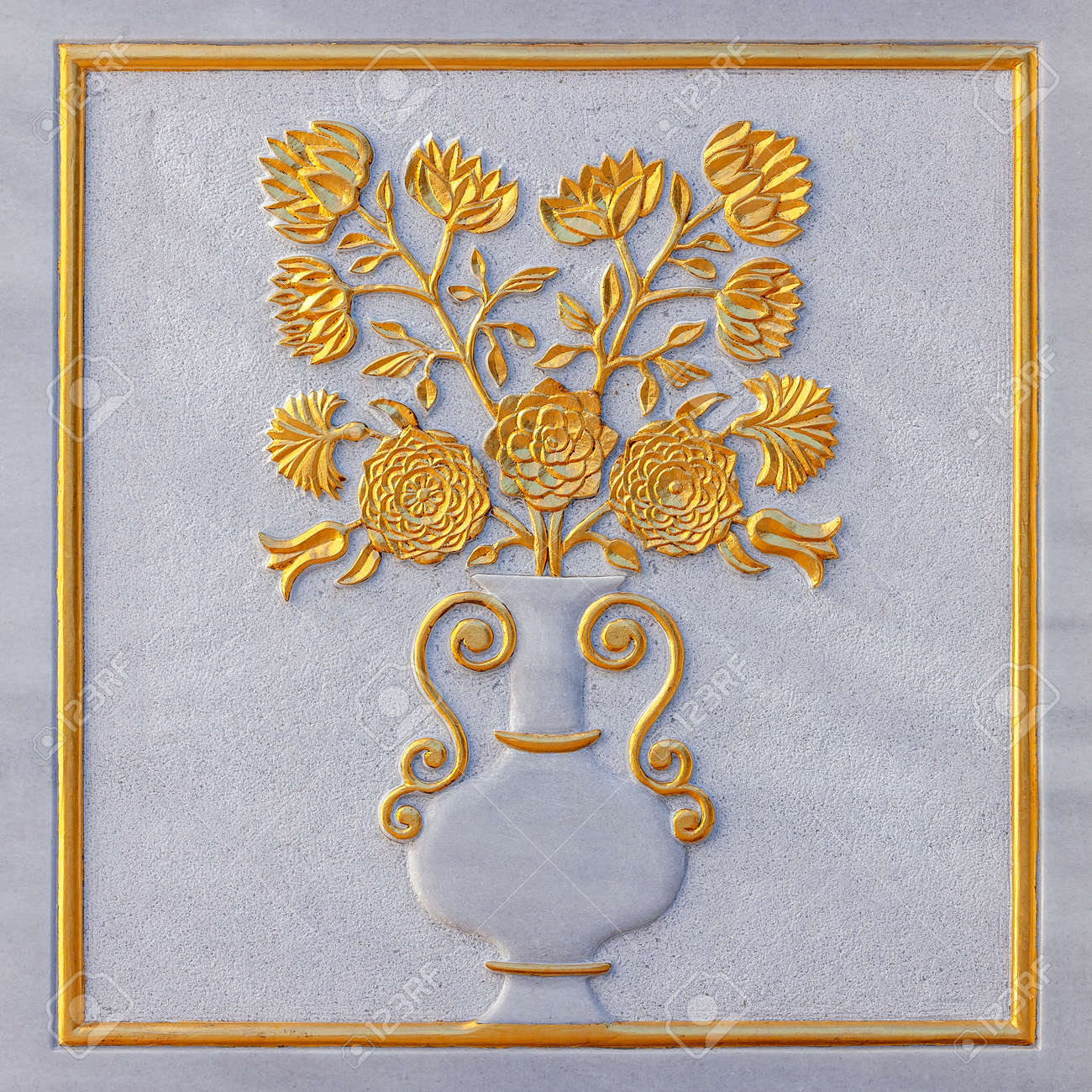Flowers and vase carved from white marble relief with golden foil - 173222567