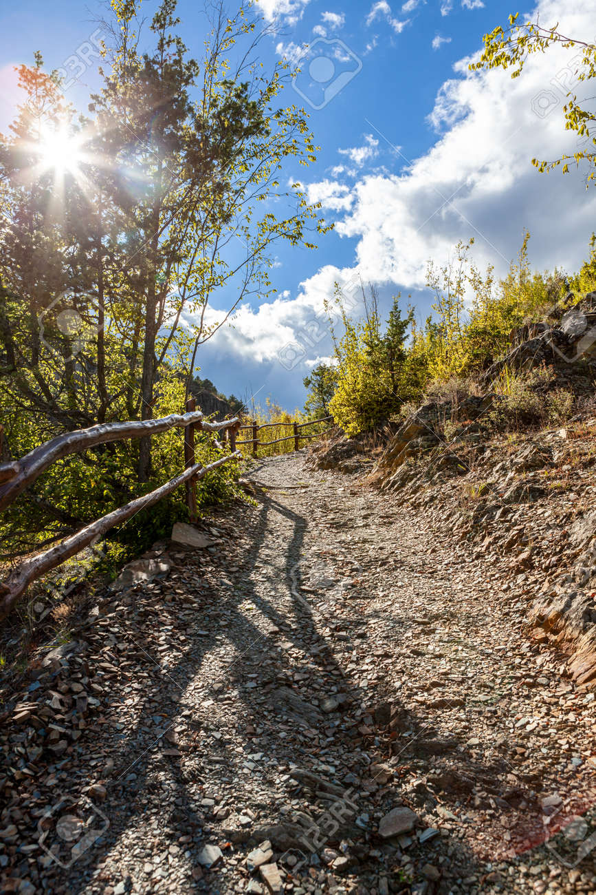 Hiking Path in cloudy sunny day - 172752520