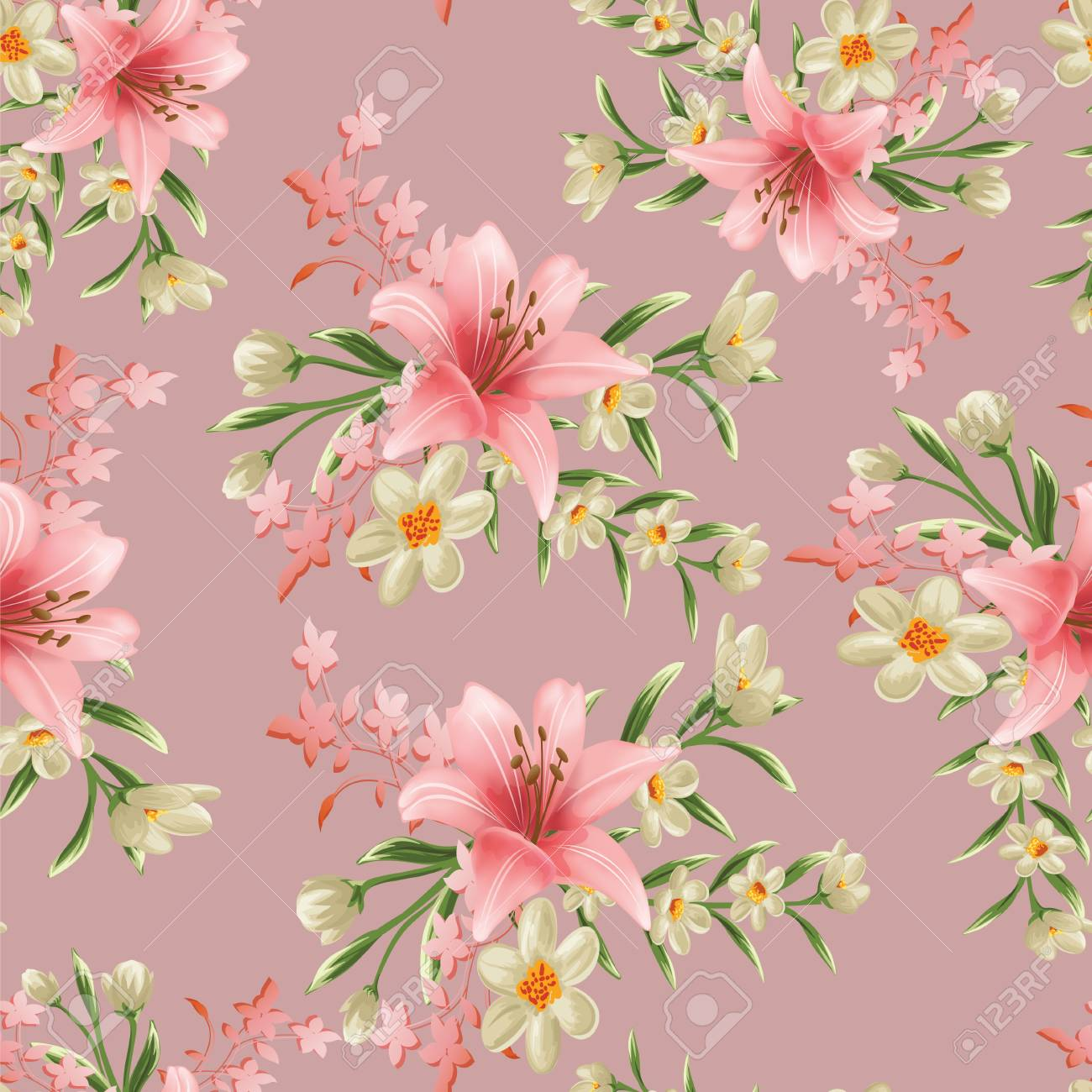 seamless flower branches with leaf pattern - 123111078