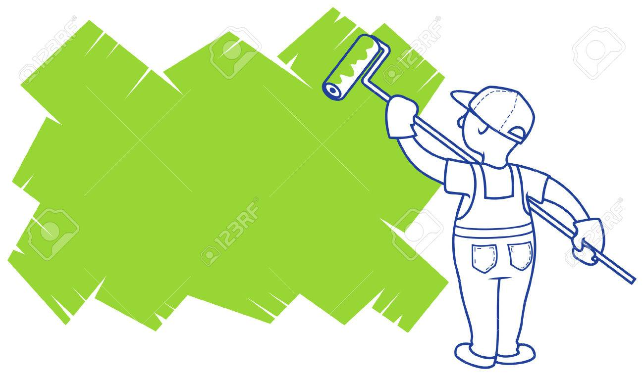 Vector illustration. The house painter paints area for a placeholder. Stock Vector - 23118353