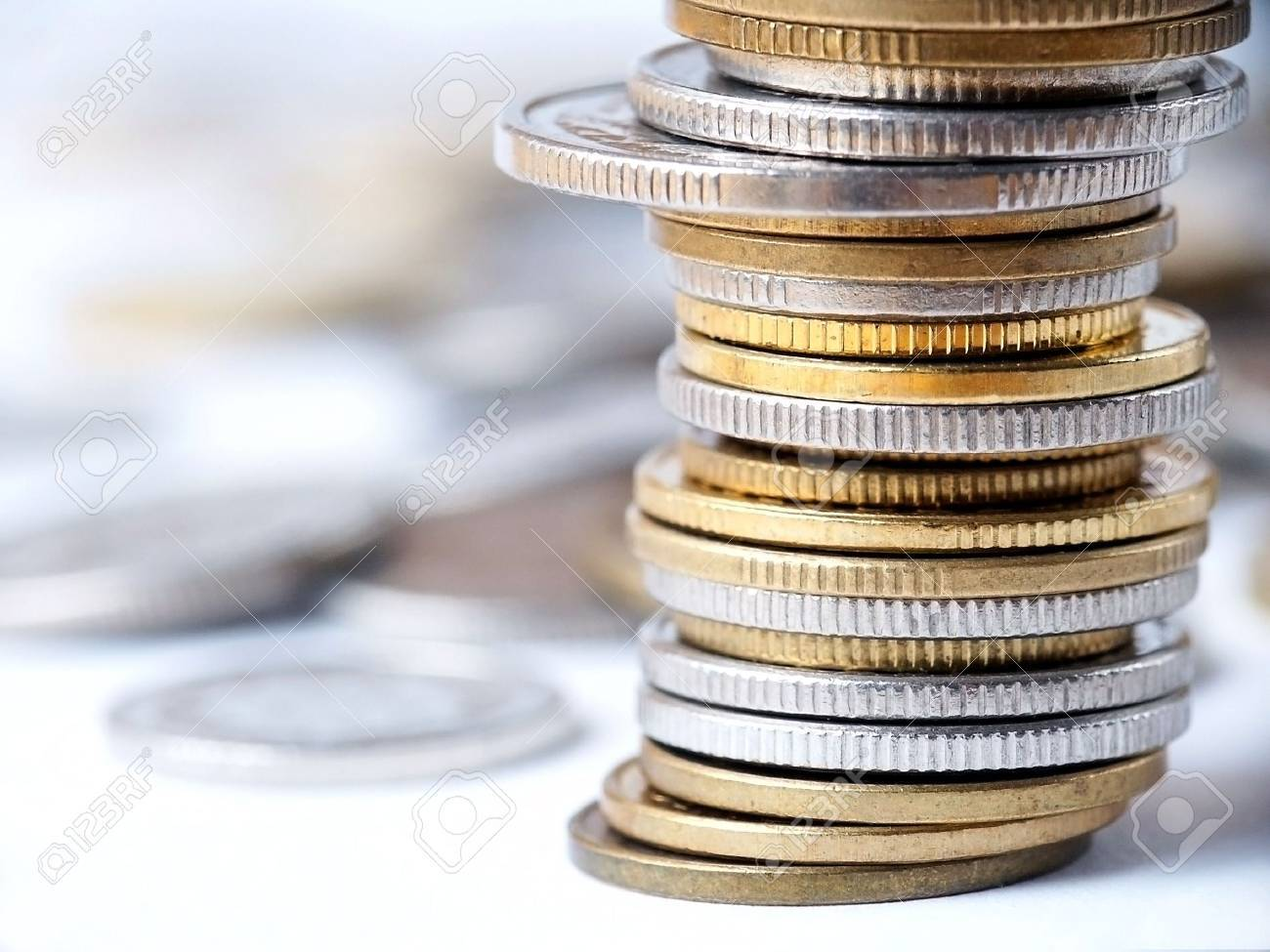 Stacks and Piles of Coins. Stock Photo - 346685