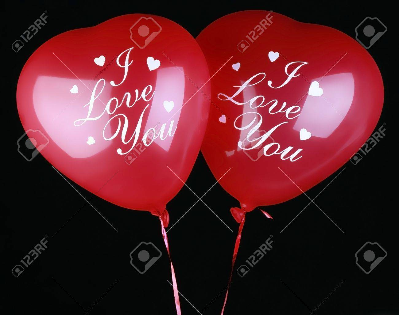 Valentine Heart Balloons on black background. With inscription Stock Photo - 759338