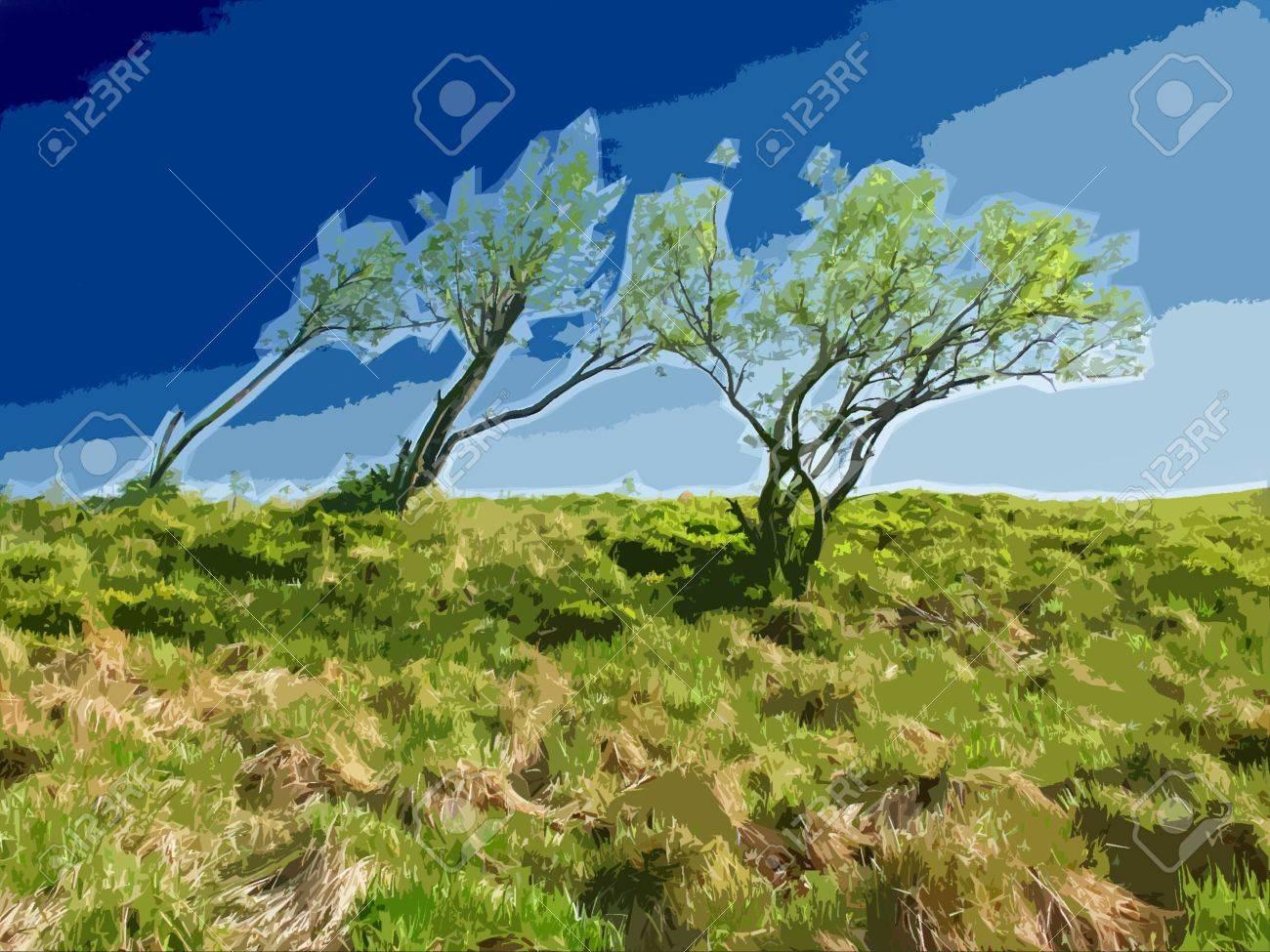 Trees on Horizon. Windy Weather. Stylized Illustration. Stock Illustration - 889709