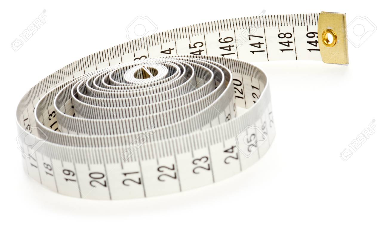 White measuring tape isolated on white background. Stock Photo - 8624934