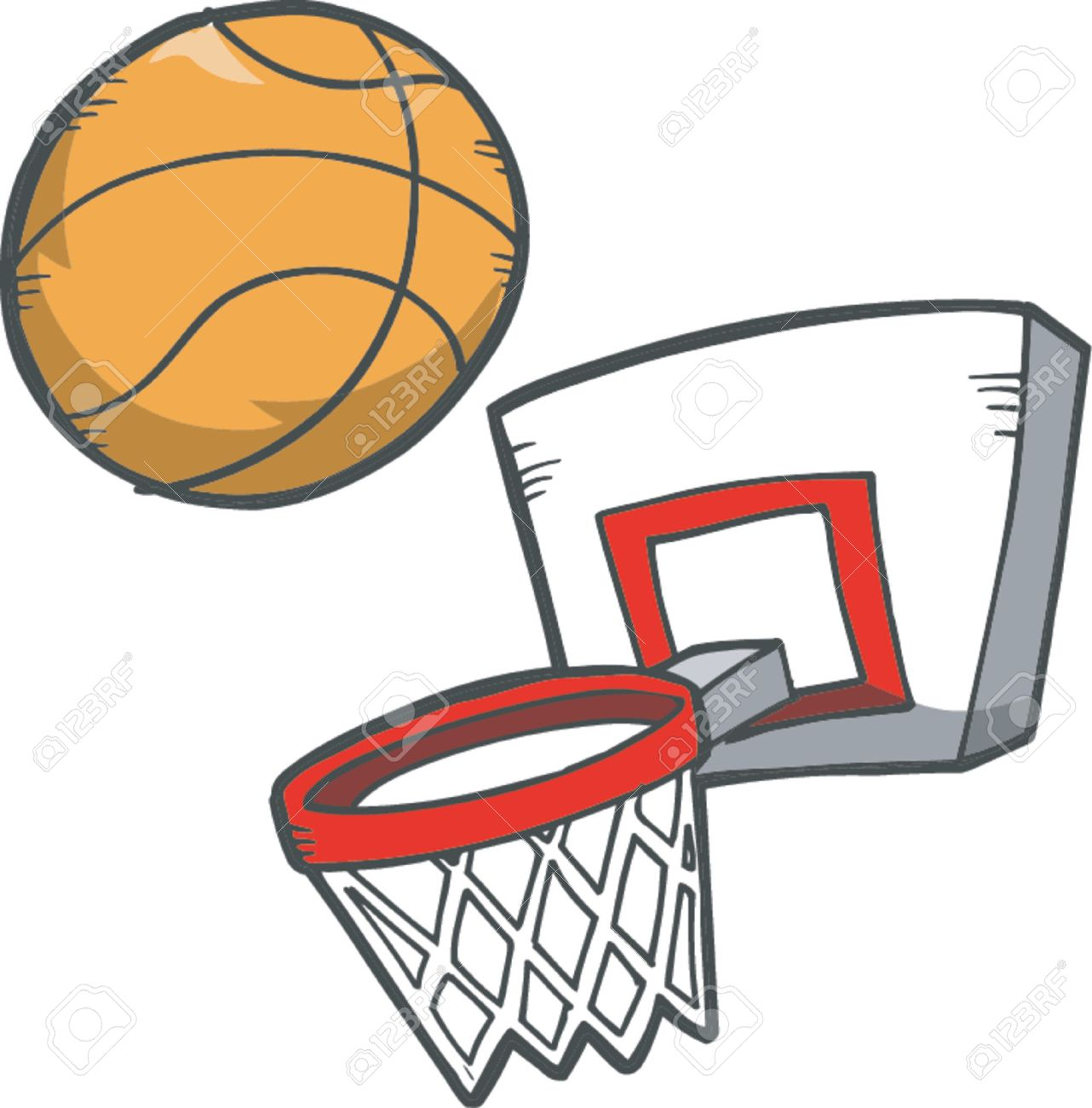Vector Illustration Of Basketball Basketball Hoop Royalty Free