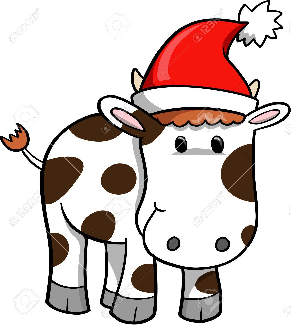 Christmas Cow.Christmas Holiday Cow Vector Illustration