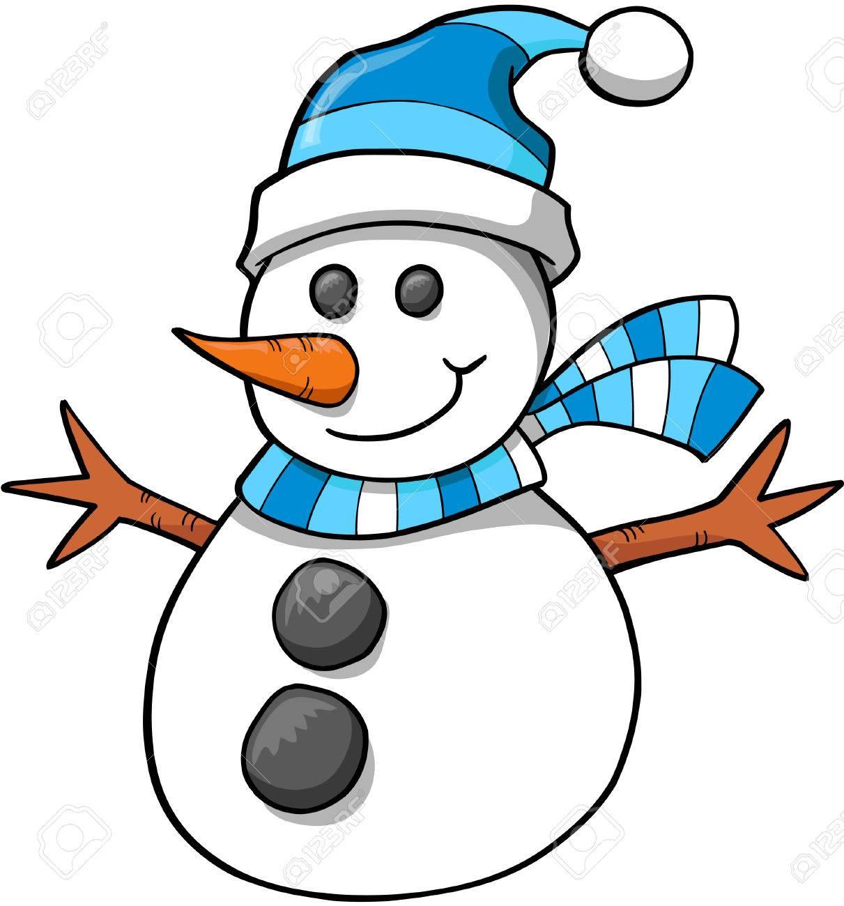 Christmas Holidays Clipart.Christmas Holiday Snowman Vector Illustration