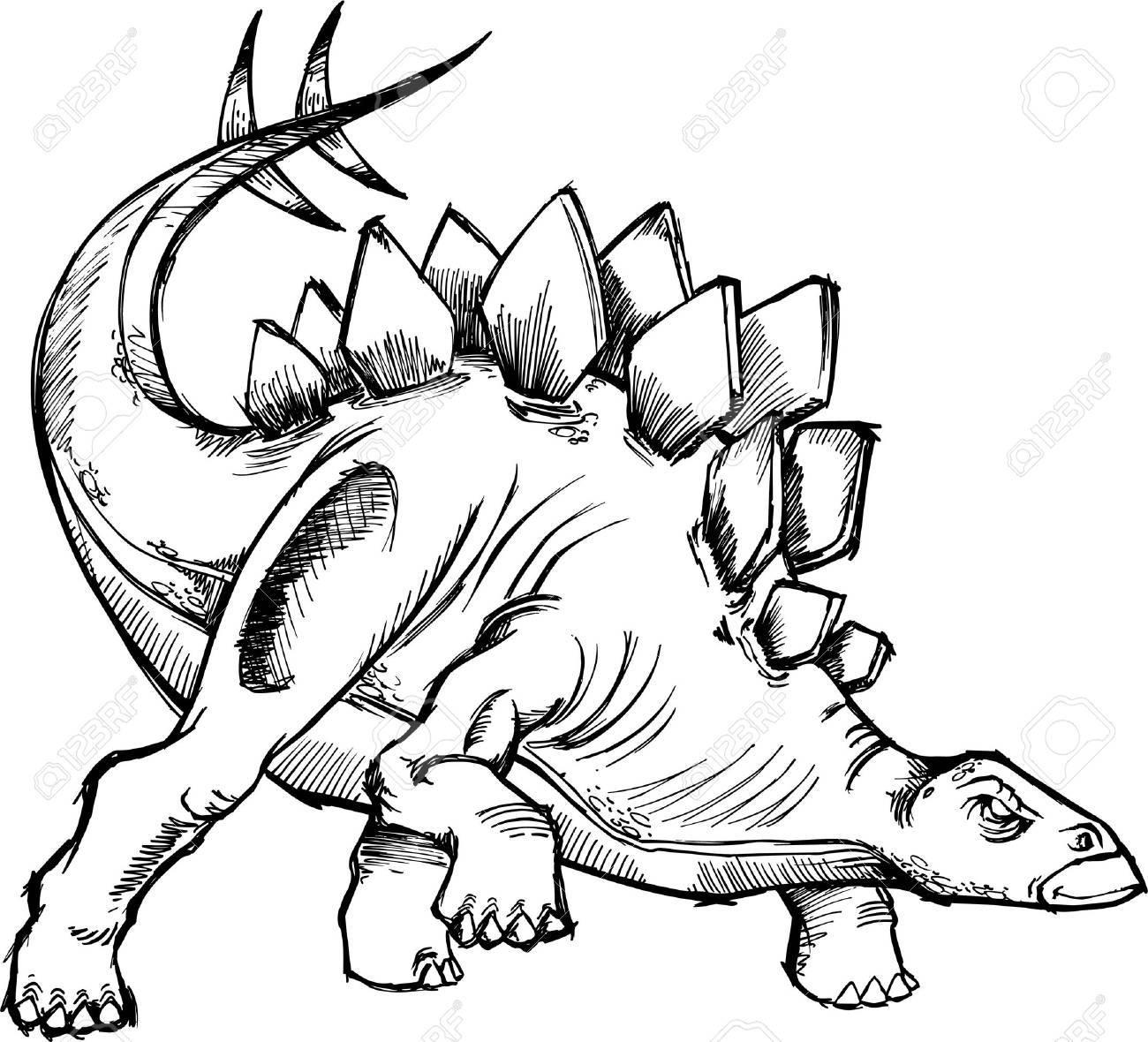 Sketchy Dinosaur Vector Illustraton Stock Vector - 2514727