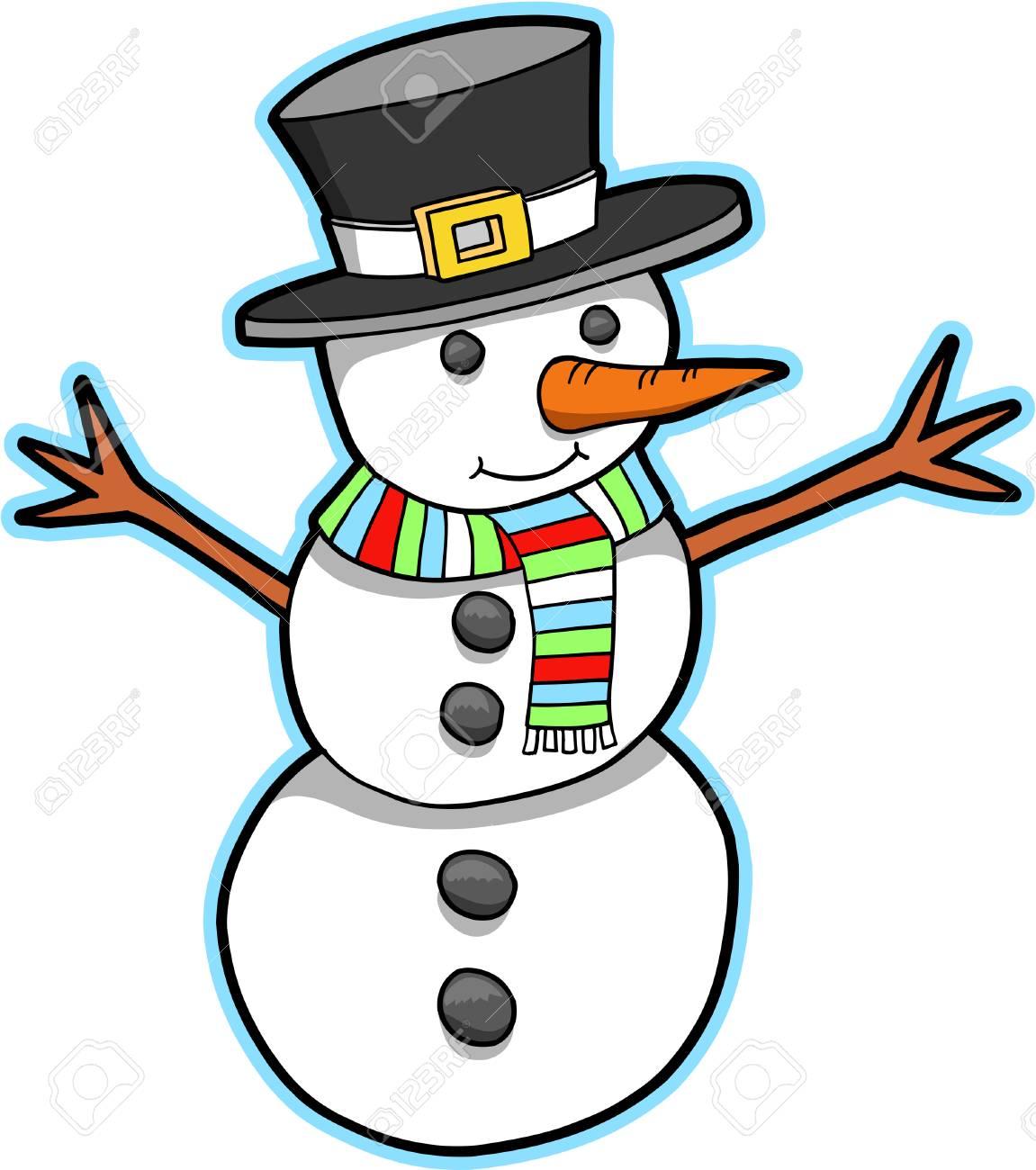Snowman Vector Illustration Stock Vector - 3290716