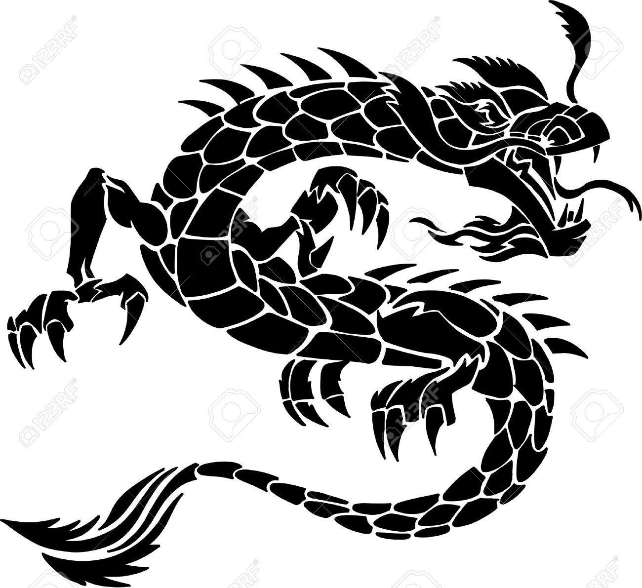 tribal tattoo dragon vector illustration royalty free cliparts rh 123rf com dragon vector free dragon vector freepik