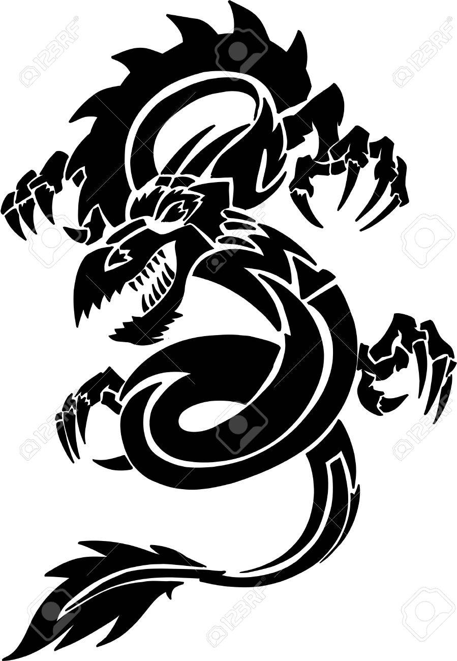 tribal tattoo dragon vector illustration royalty free cliparts rh 123rf com dragon vector game dragon vector illustration