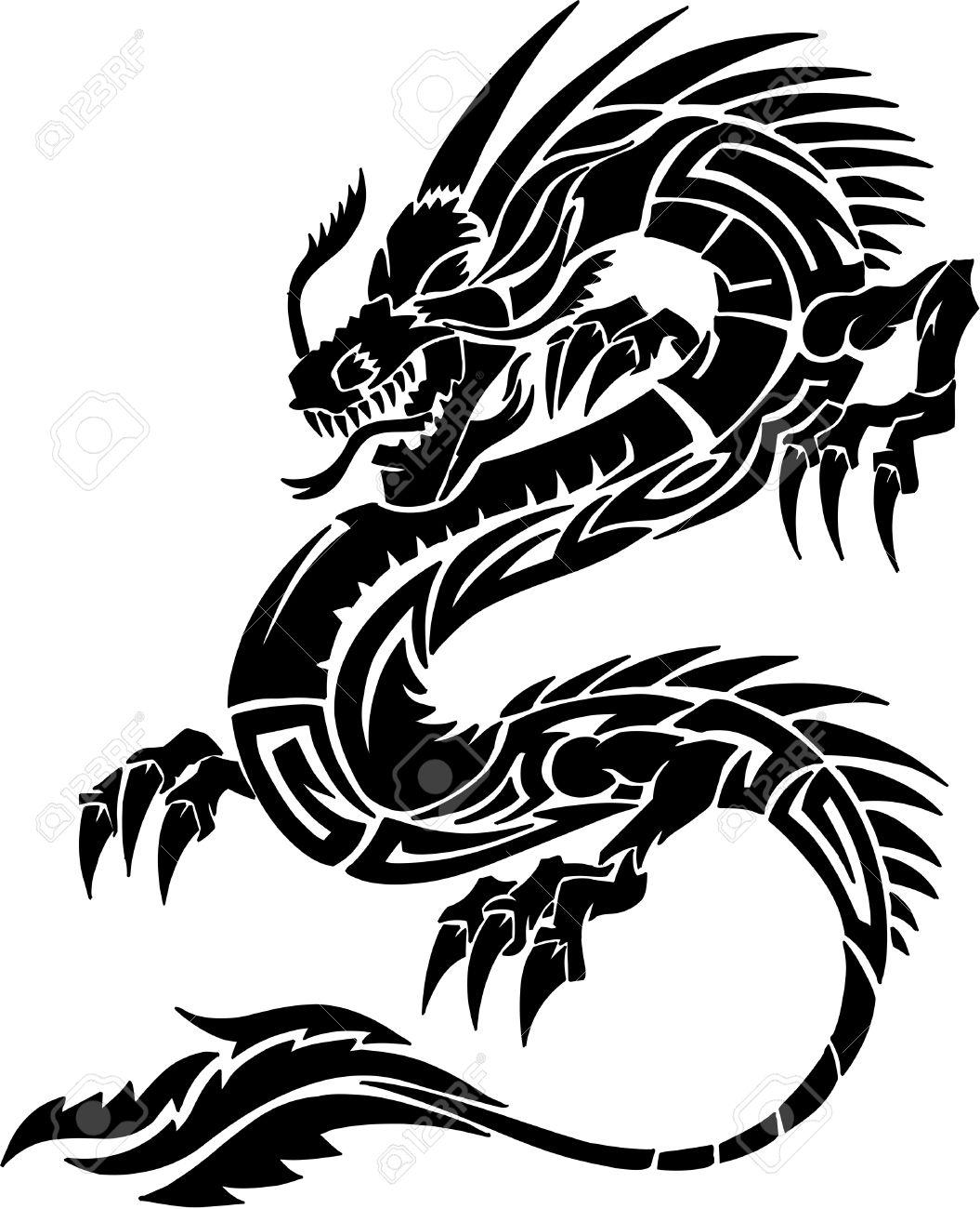 tribal tattoo dragon vector illustration royalty free cliparts rh 123rf com vector dragon silhouette vector dragon head