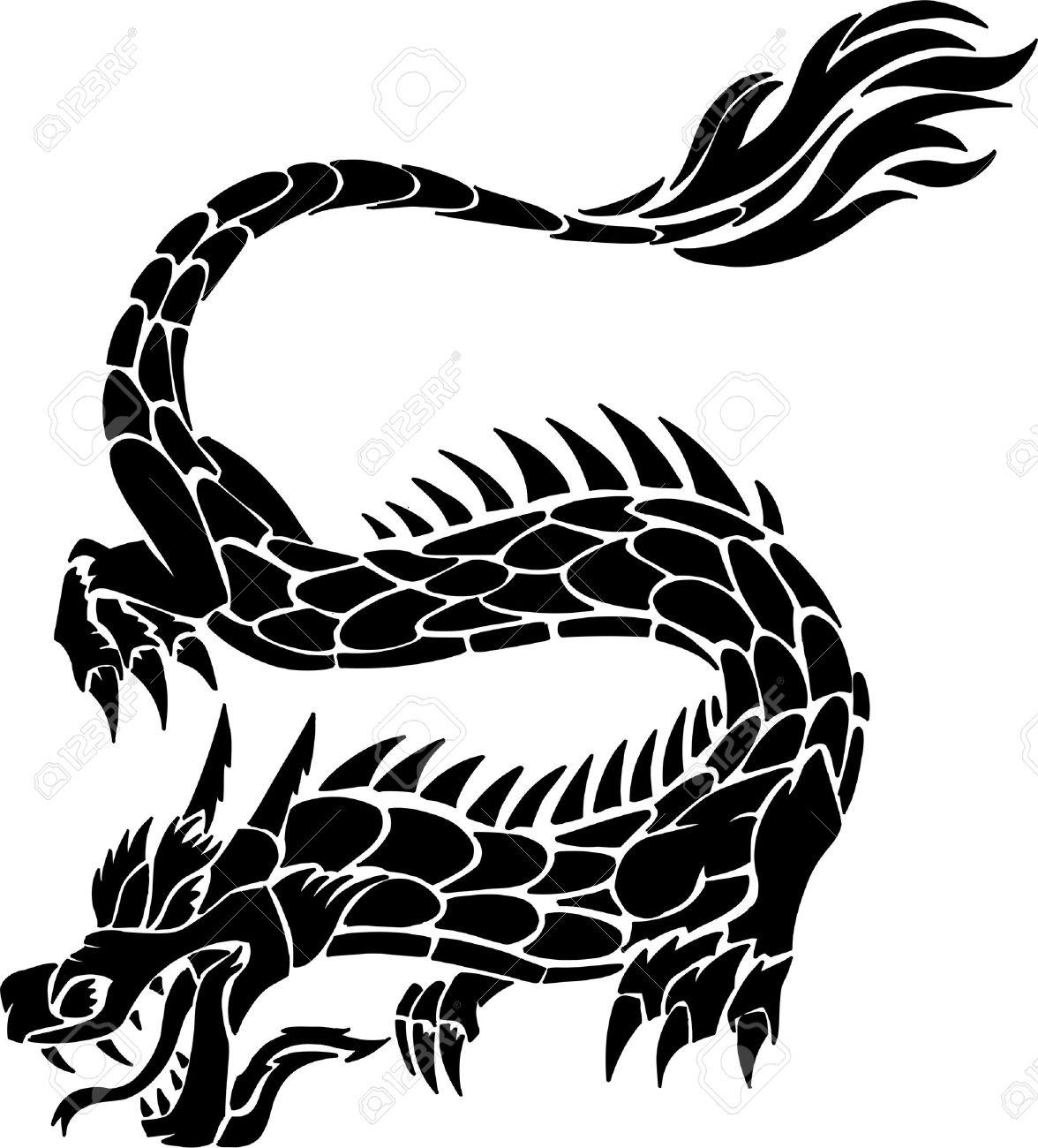 Tribal Tattoo Dragon Vector Illustration Stock Vector - 3631724