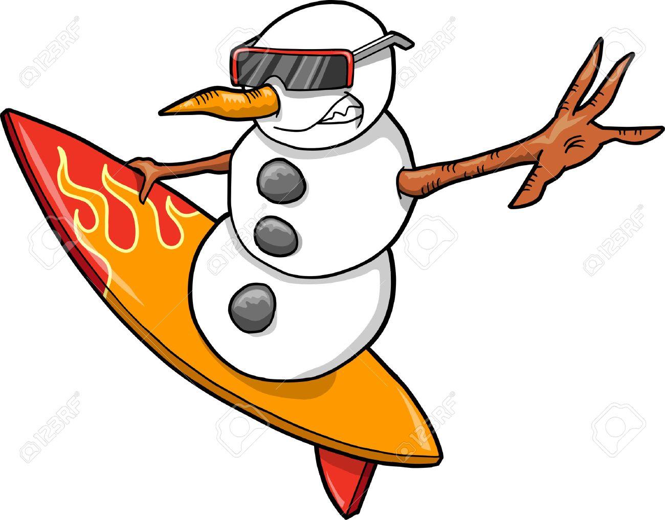 Christmas Holiday surfer Snowman Vector - 6542251