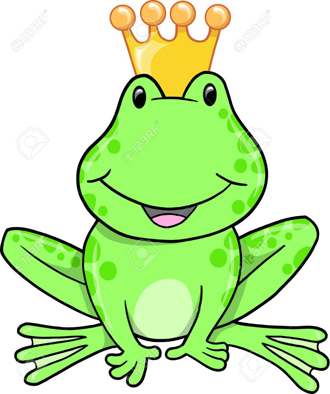 frog prince vector illustration royalty free cliparts vectors and rh 123rf com Leaping Frog Clip Art Cute Frog Silhouette