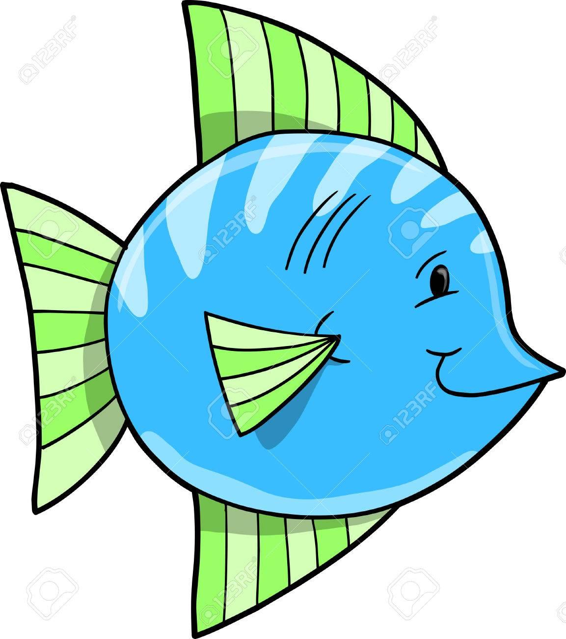かわいい青い魚ベクトル イラスト ロイヤリティフリークリップアート