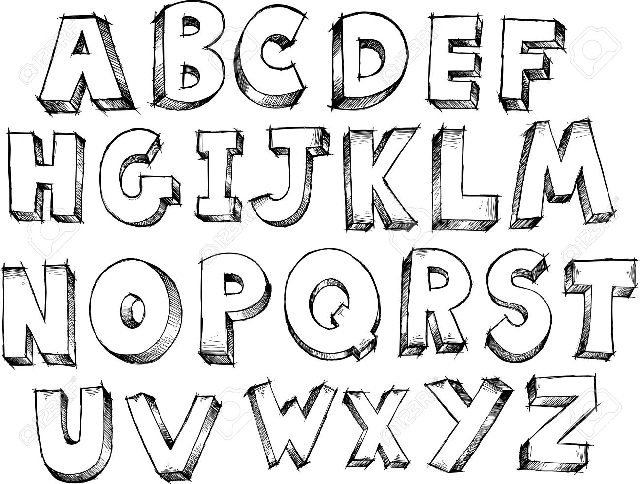 Sketch Doodle Alphabet Letters Vector Illustration Royalty Free ...