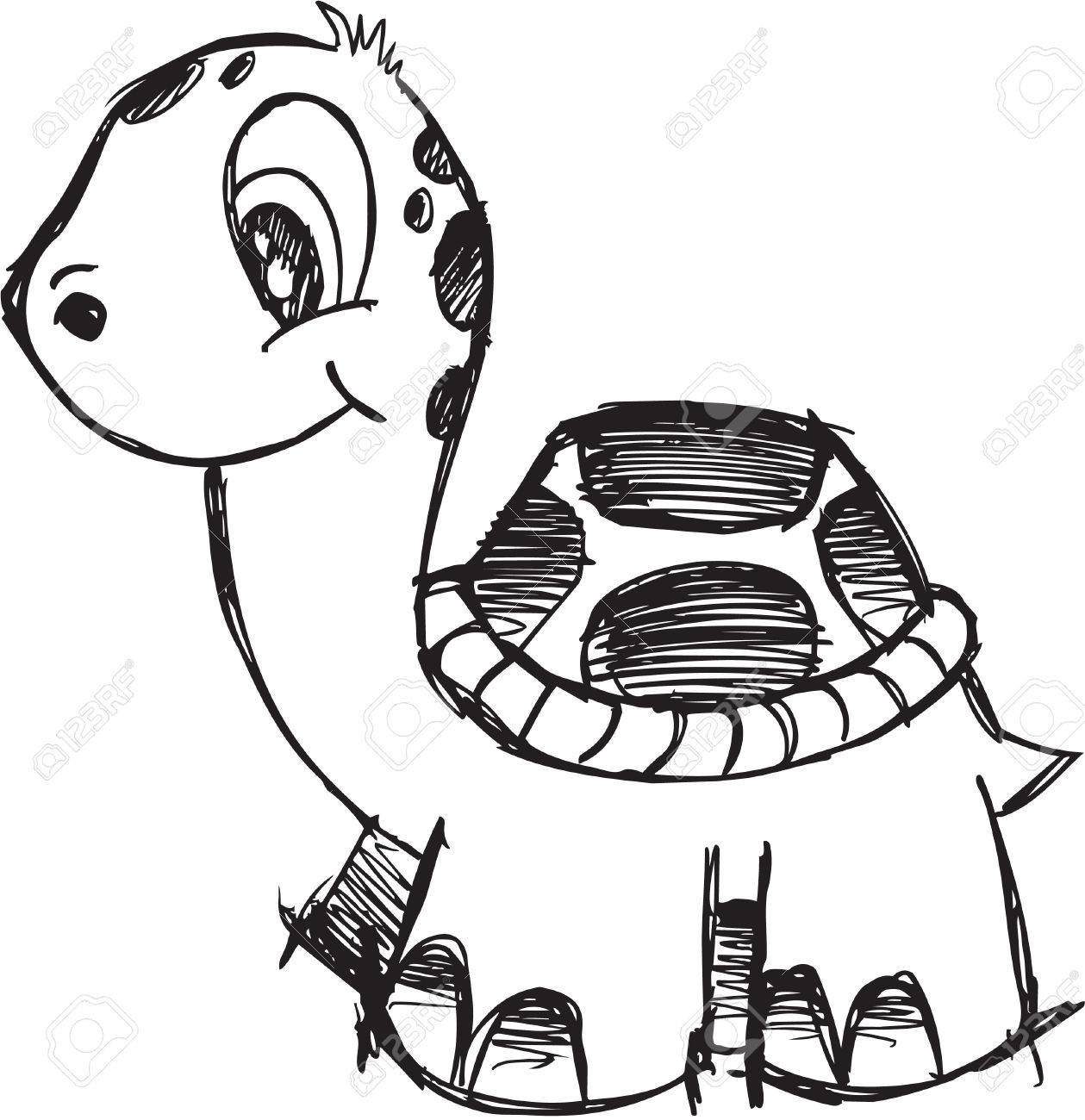 Cute Doodle Sketchy turtle Vector Illustration - 6574498