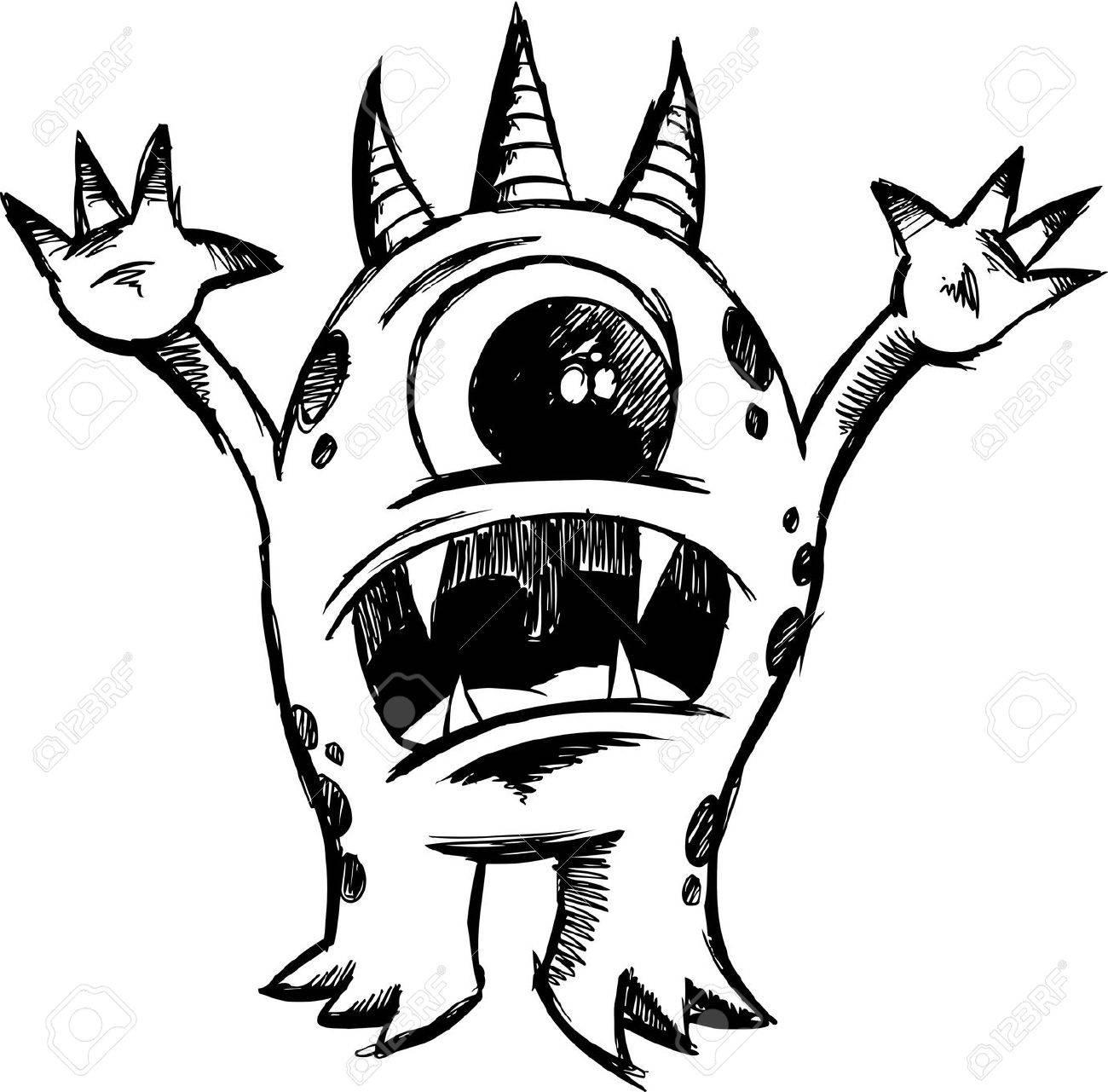 Sketchy Monster Devil Illustration - 6767026