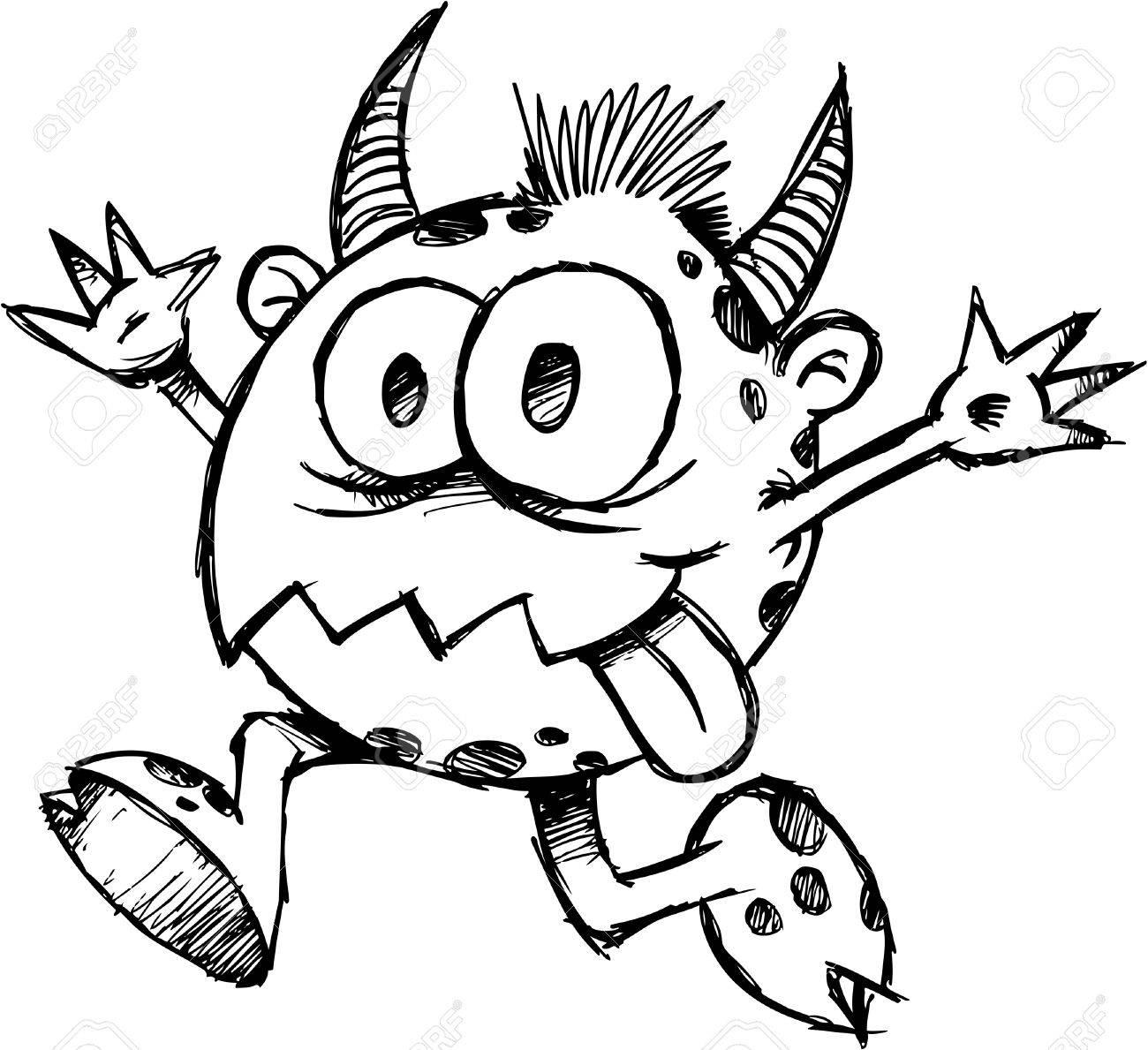 Sketchy Monster Devil Illustration - 6767032