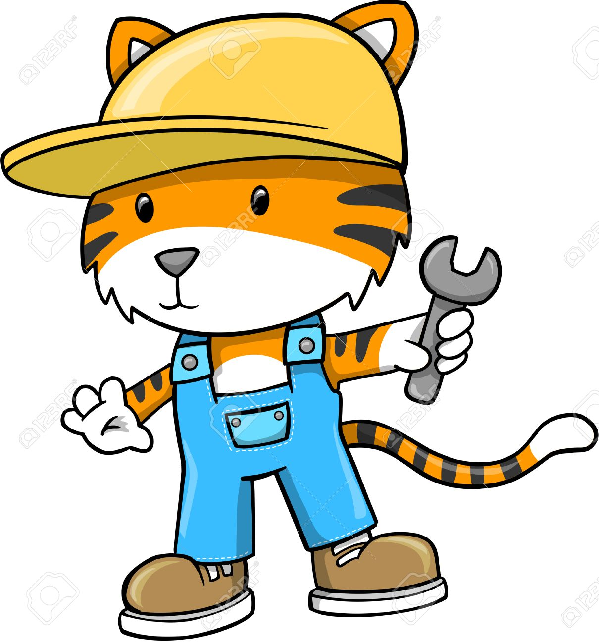 Construction Tiger Illustration - 6767025