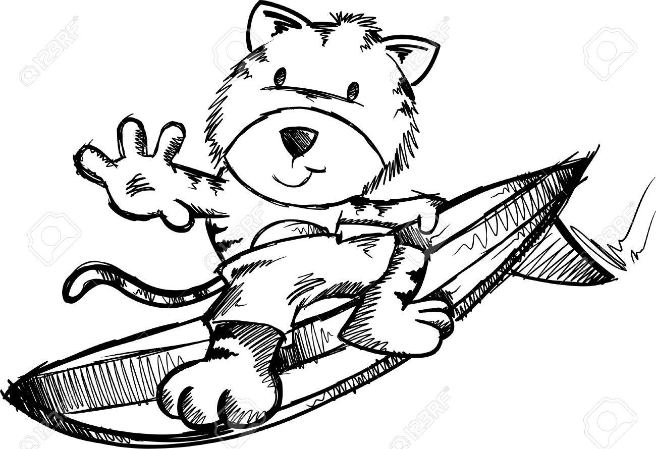 surfing tiger doodle sketch illustration royalty free cliparts
