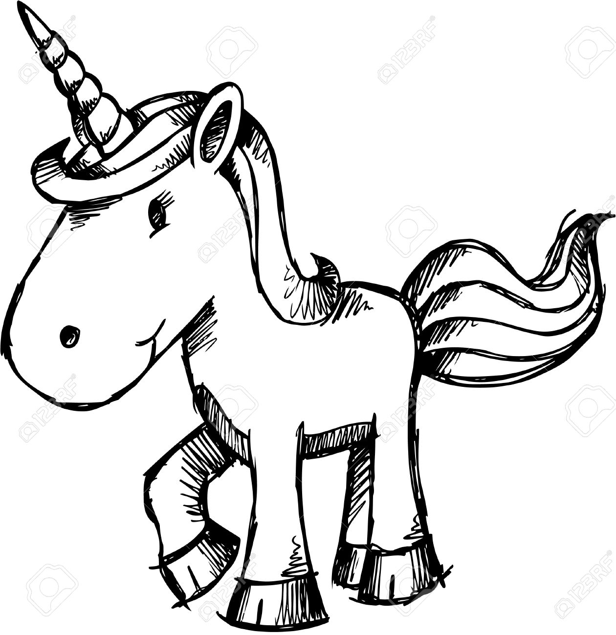 Doodle Sketchy Unicorn Stock Vector - 6774842