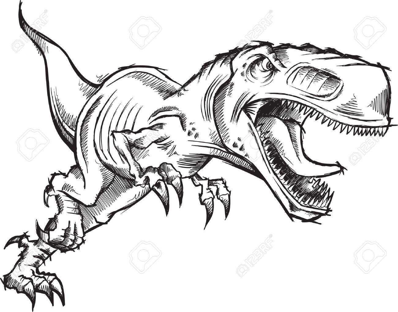 Tyrannosaurus Dinosaur Sketch Doodle - 6774863