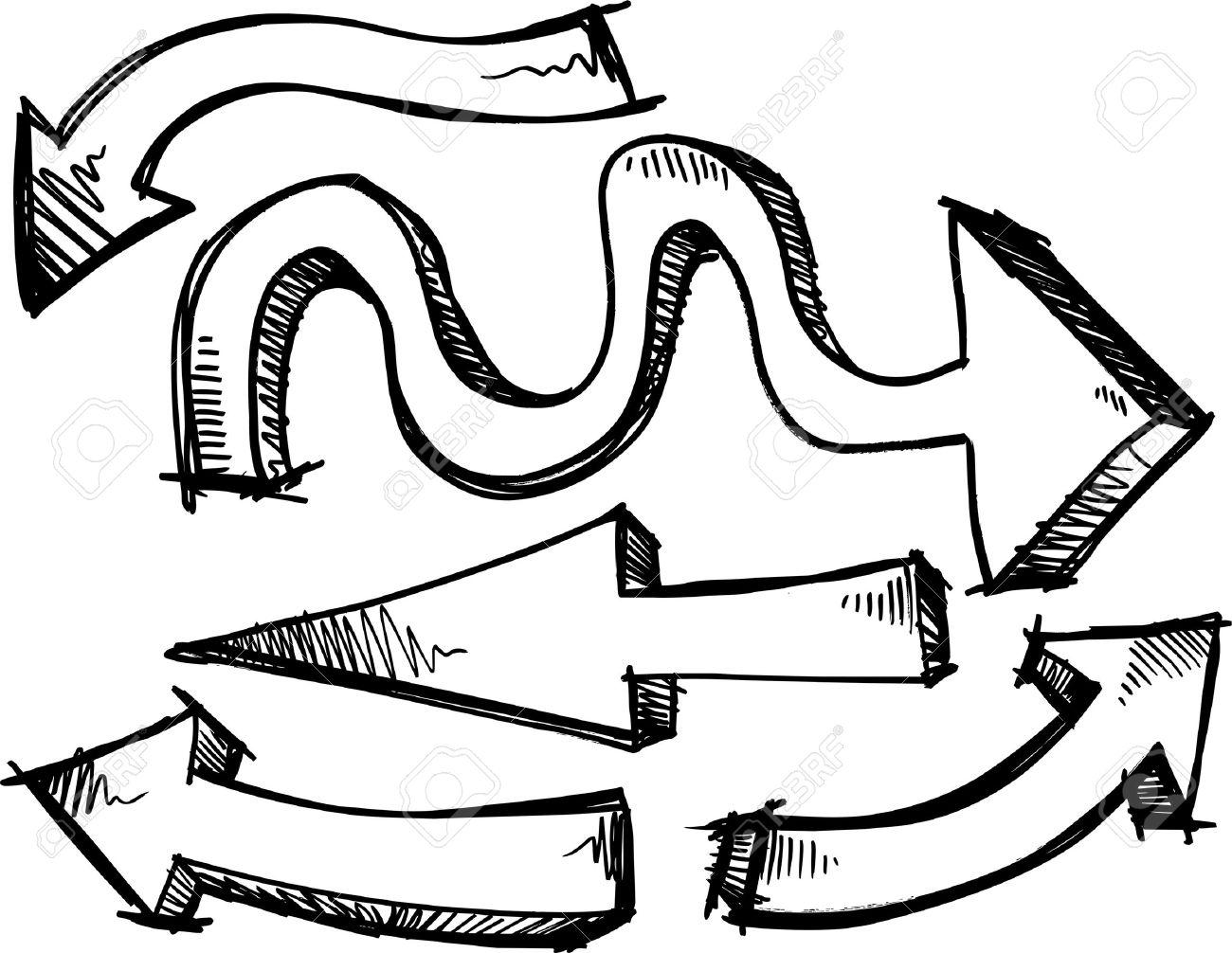 Sketchy Doodle Arrows Illustration - 6799669