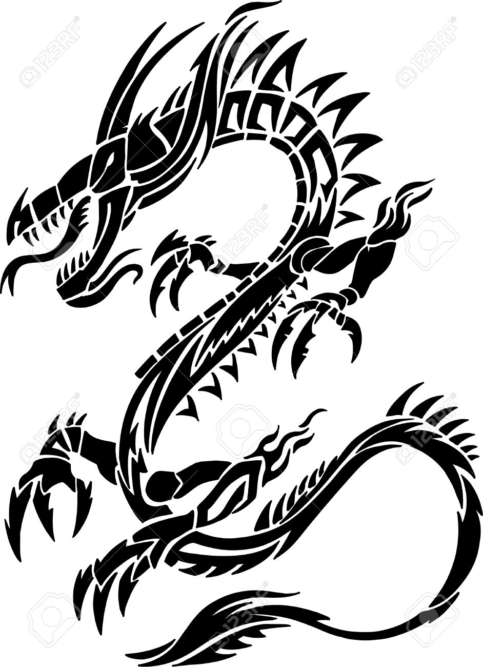 Tattoo Tribal Dragon Illustration - 6841562