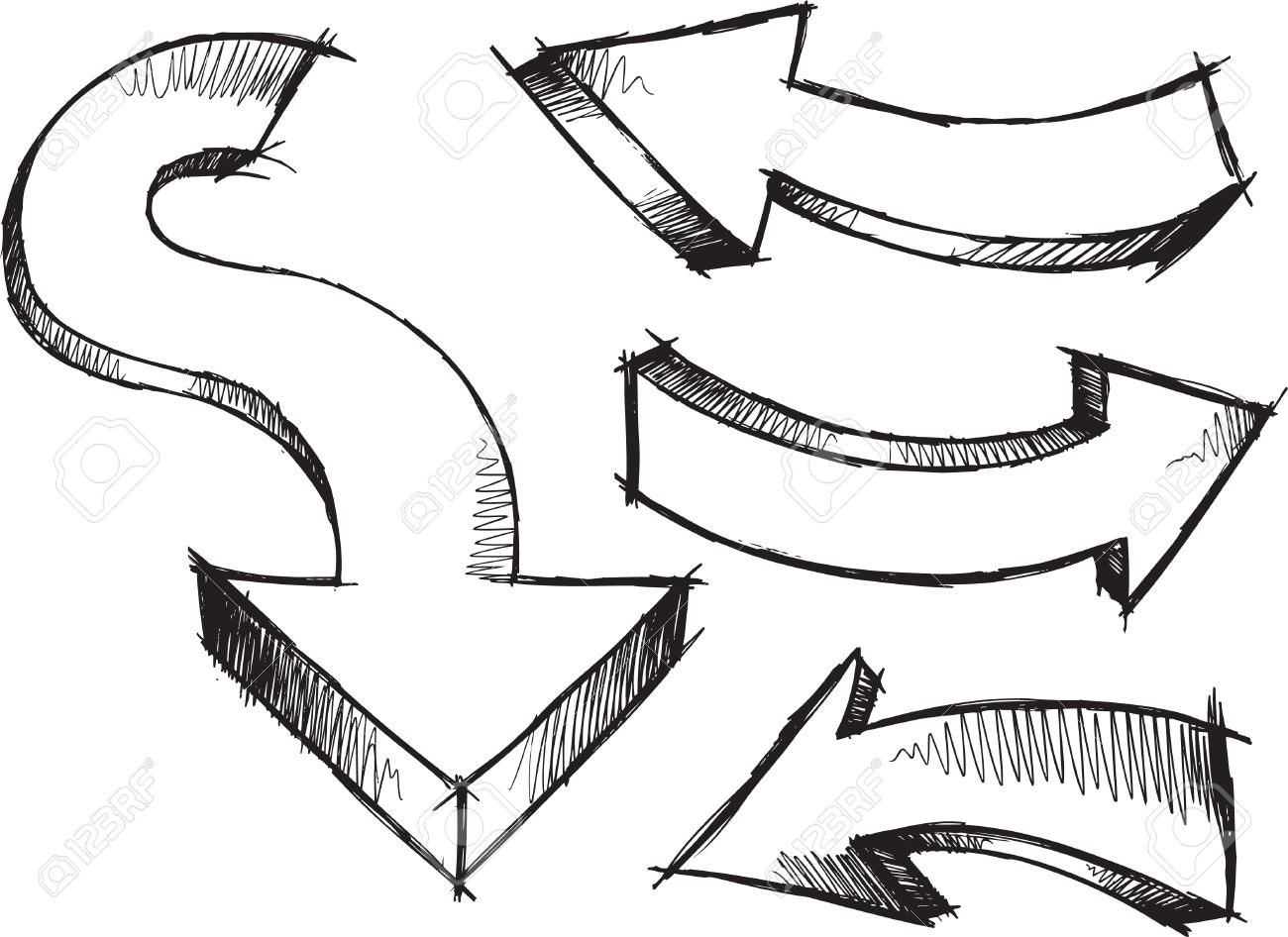 Sketchy Arrows Illustration - 6847570