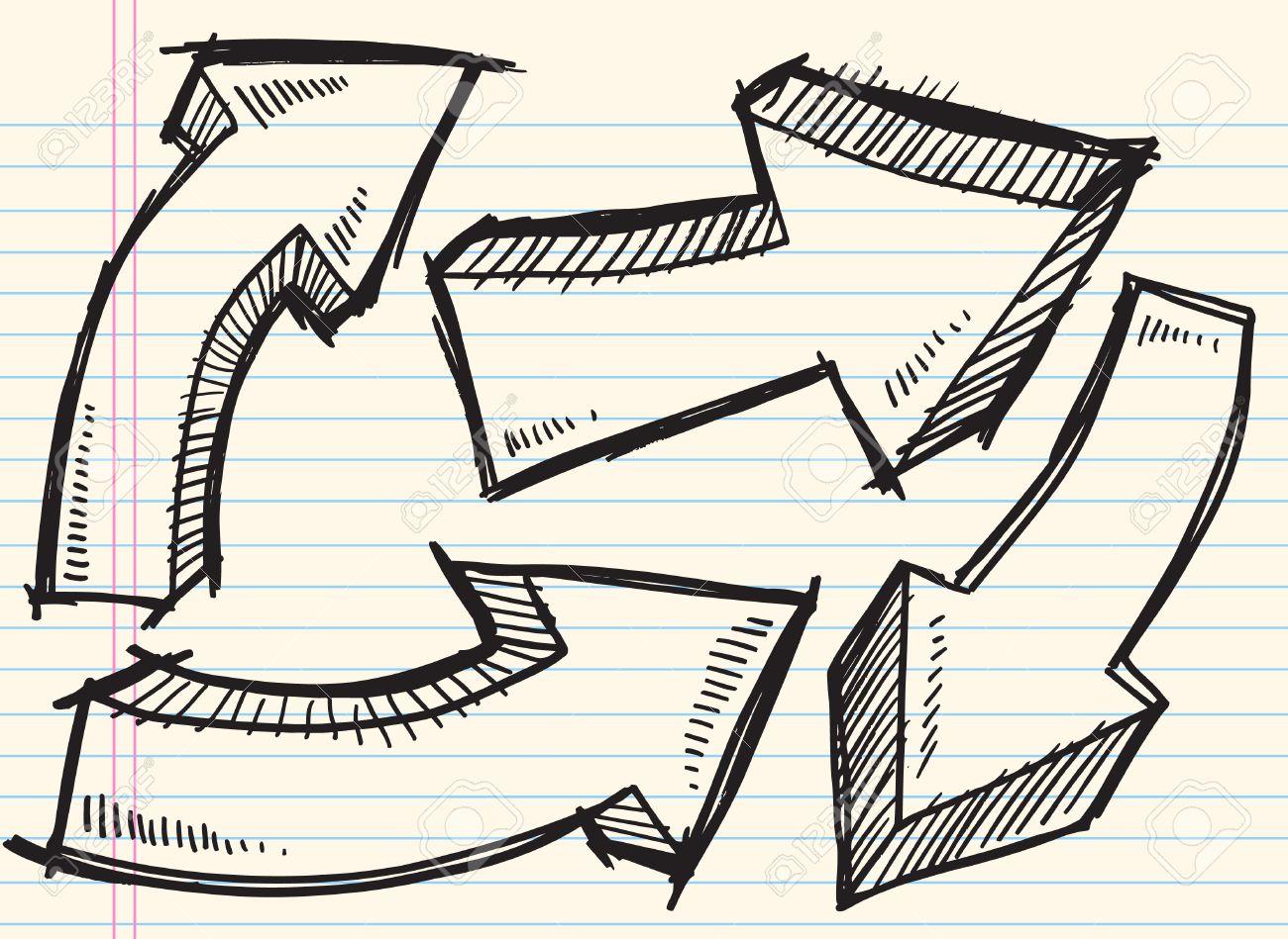 Doodle Sketch Arrow Set Illustration - 6883624