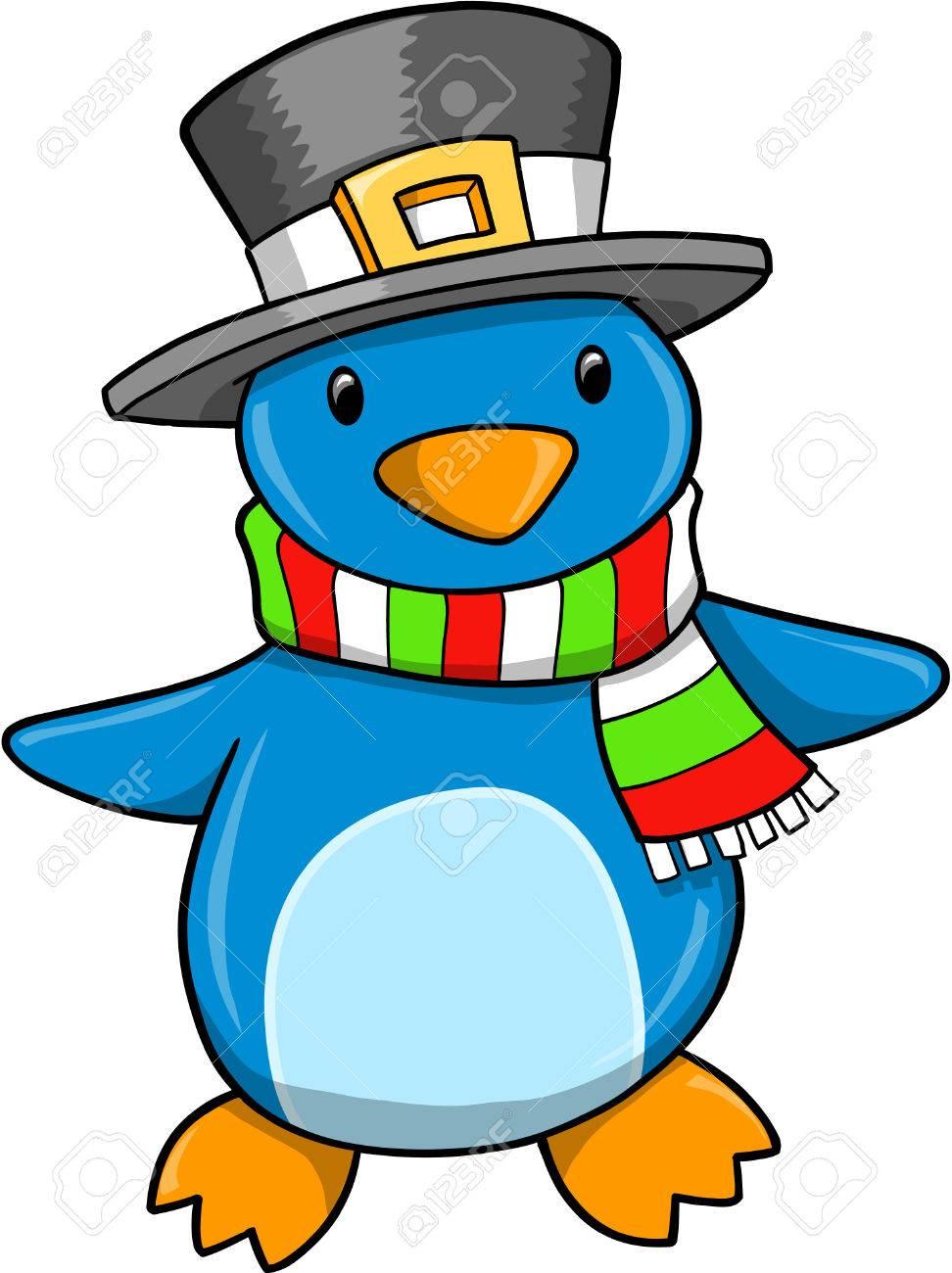 christmas holiday penguin illustration royalty free cliparts