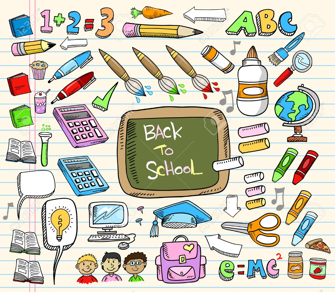 Back to School Doodle Education Illustration Set Stock Vector - 7261097