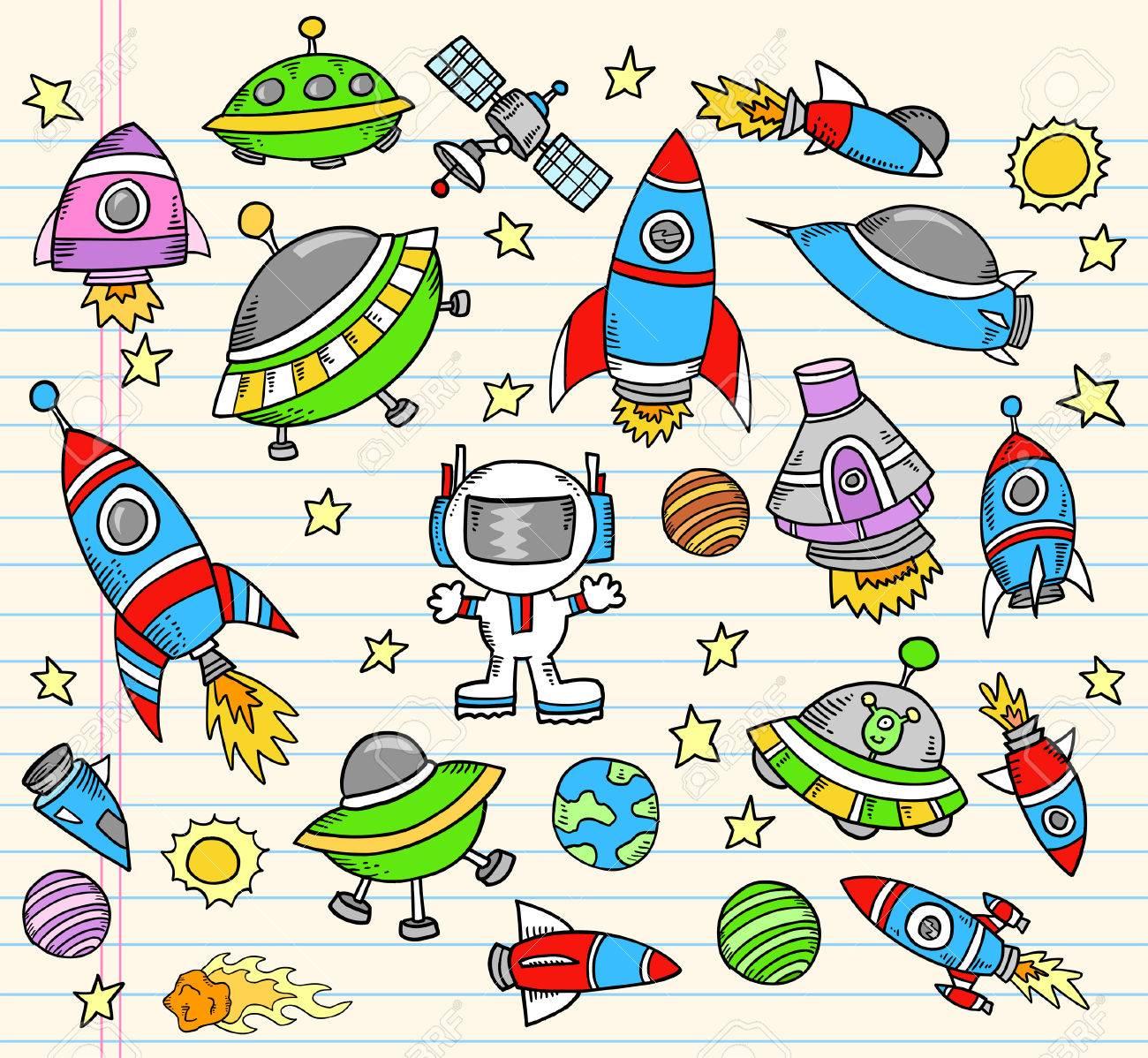 Outer Space Doodle notebook Elements Illustration Set - 7261096