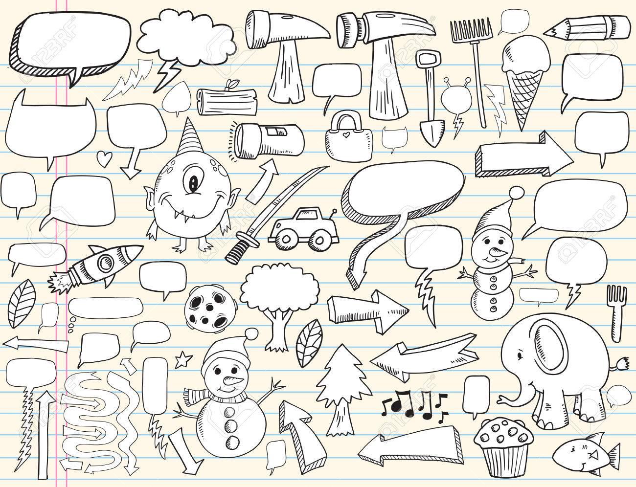 Notebook Doodle Speech Bubble Design Elements Mega Illustration Set Stock Vector - 7261094