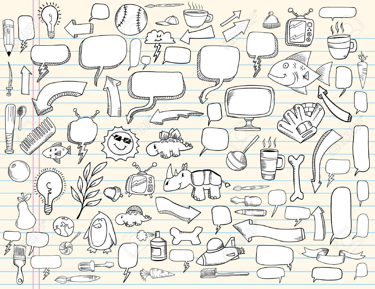 Notebook Doodle Speech Bubble Design Elements Mega Illustration Set - 7261095